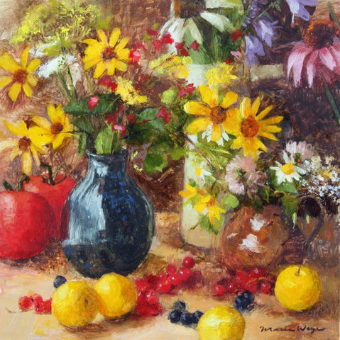 Maria Waye Art fine art oil painting flowers yellow red orange pink colorful summer