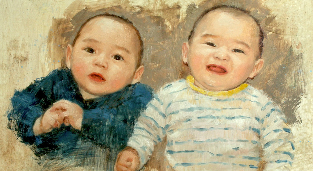Maria Waye Twin Babies Custom Portrait Oil Painting