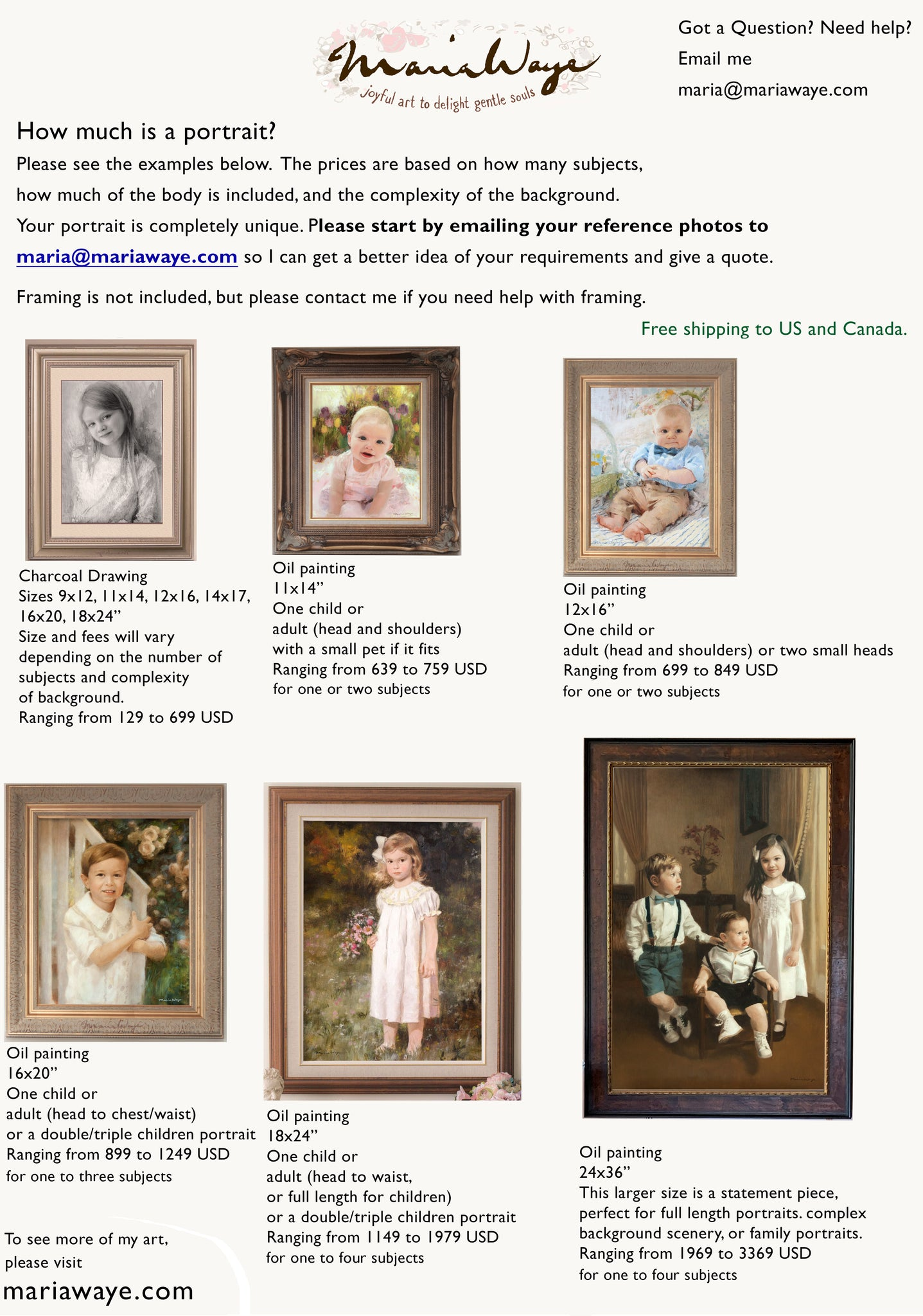 How much does it cost to get a portrait done? How much does a portrait painting cost? Toronto artist Maria Waye specializing in oil painting portraits for children babies and families.
