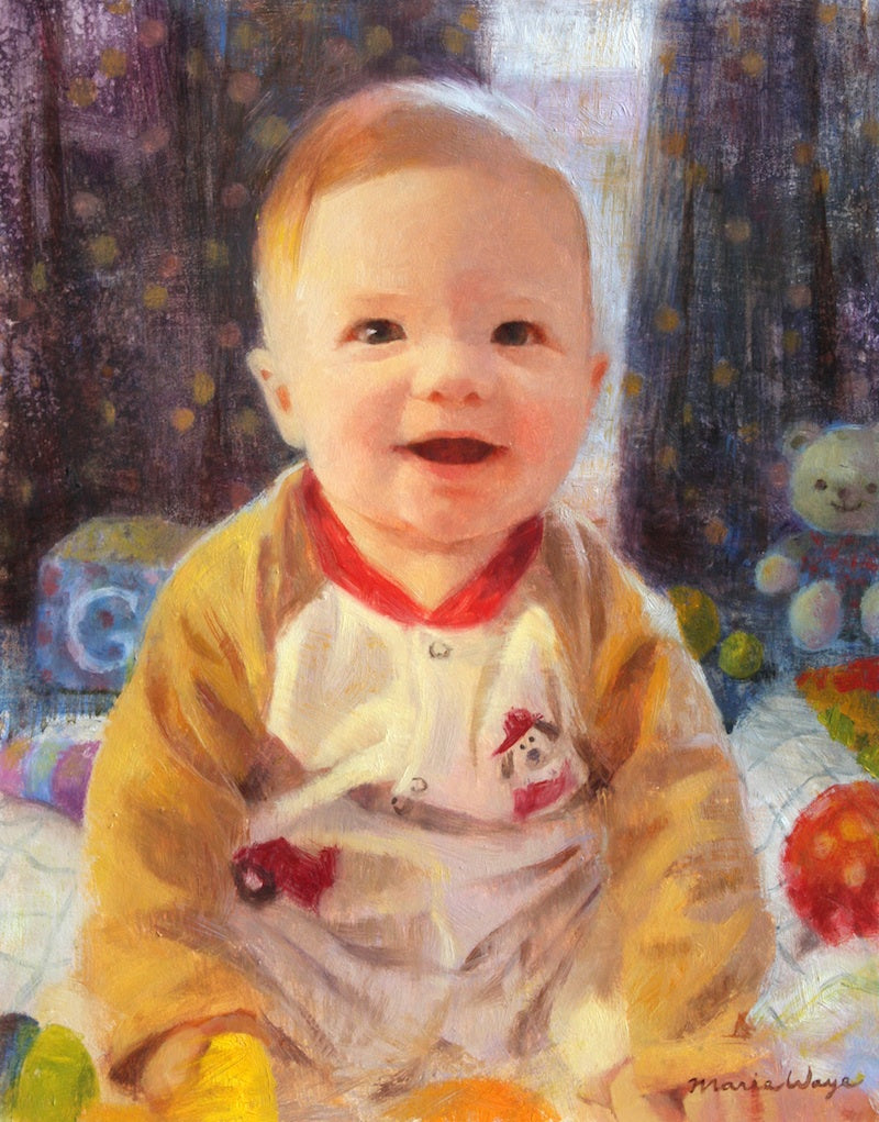 Maria Waye custom boy baby portrait toys colorful happy cheerful oil painting