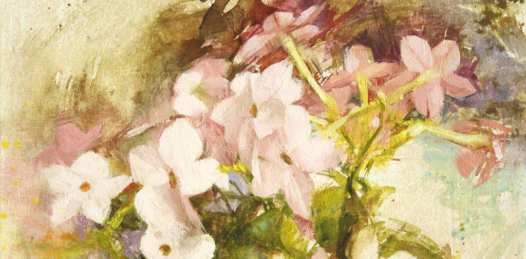 Maria Waye Floral Artist Painting Oil Fine Art Pink Flowers Star Shaped