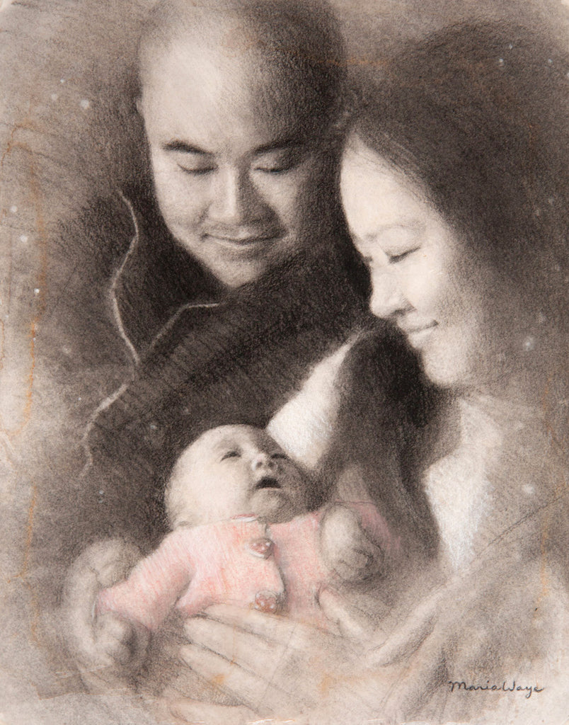 Portrait-from-photo-baby-family-by-artist-Maria-Waye-artist-drawing-custom-portrait-art-Toronto-Canada-pencil-charcoal-carbon-black-and-white