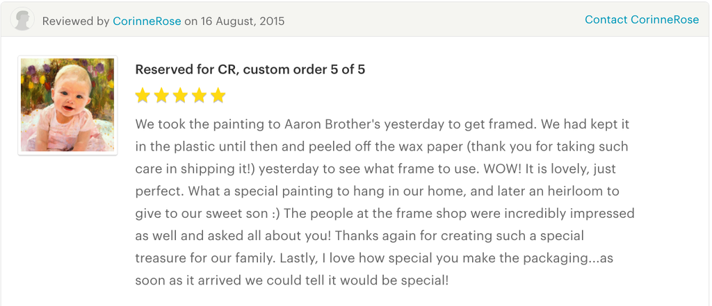 maria waye custom portrait baby boy special love oil painting perfect lovely customer testimonial 5 star review