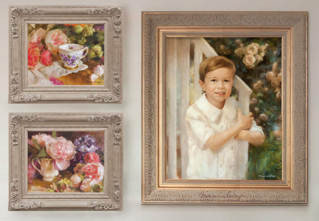 How to display your art collection of fine art oil paintings at home by artist Maria Waye from Toronto specializing in children's portrait paintings