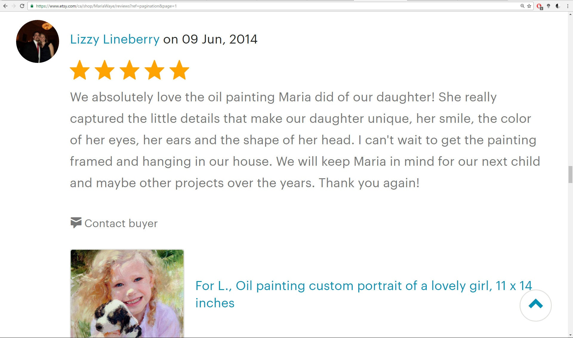 maria waye customer review 5 star portrait artist best top rated toronto canada