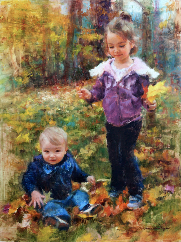Maria Waye Art that lets you Live freely and lightly oil painting florals original fine art. Original custom portrait, children playing with autumn leaves, joyful happy artwork for siblings, on a crisp fall day, big sister and little brother portrait.