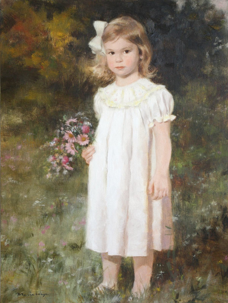 Adorable baby custom oil portrait baby girl painting by artist Maria Waye Toronto Canada artwork commissioned personalized art