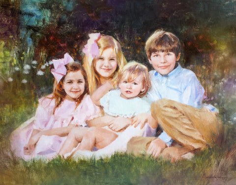 "Custom Portrait Oil Painting 24x30"" Four people or pets (61x76 cm)"