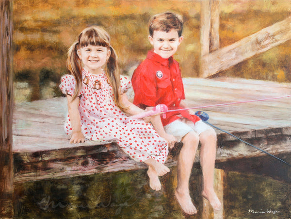 "Custom Portrait Oil Painting 18x24"" Two people or pets (40.64x50.8 cm)"