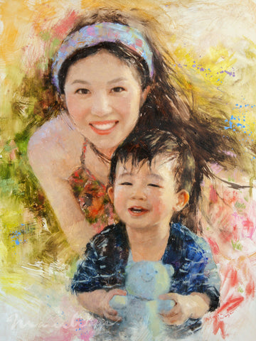 "Custom Portrait Oil Painting 12x16"" Two people or pets (30.48x40.64 cm)"