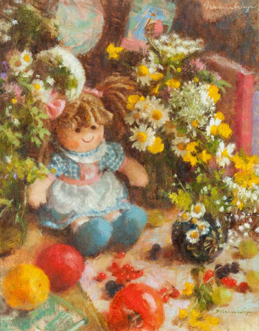 """Happy Dolly with Summer Wildflowers"" Original Oil Painting"