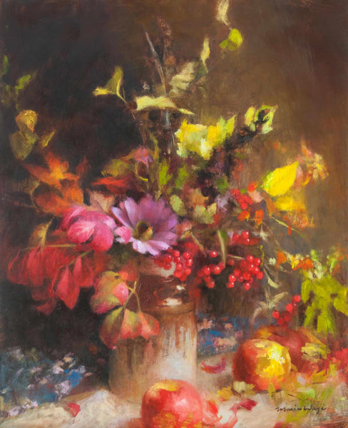 Still life oil painting original art of red autumn berries, apples, leaves, foliage arrangement in a vase.