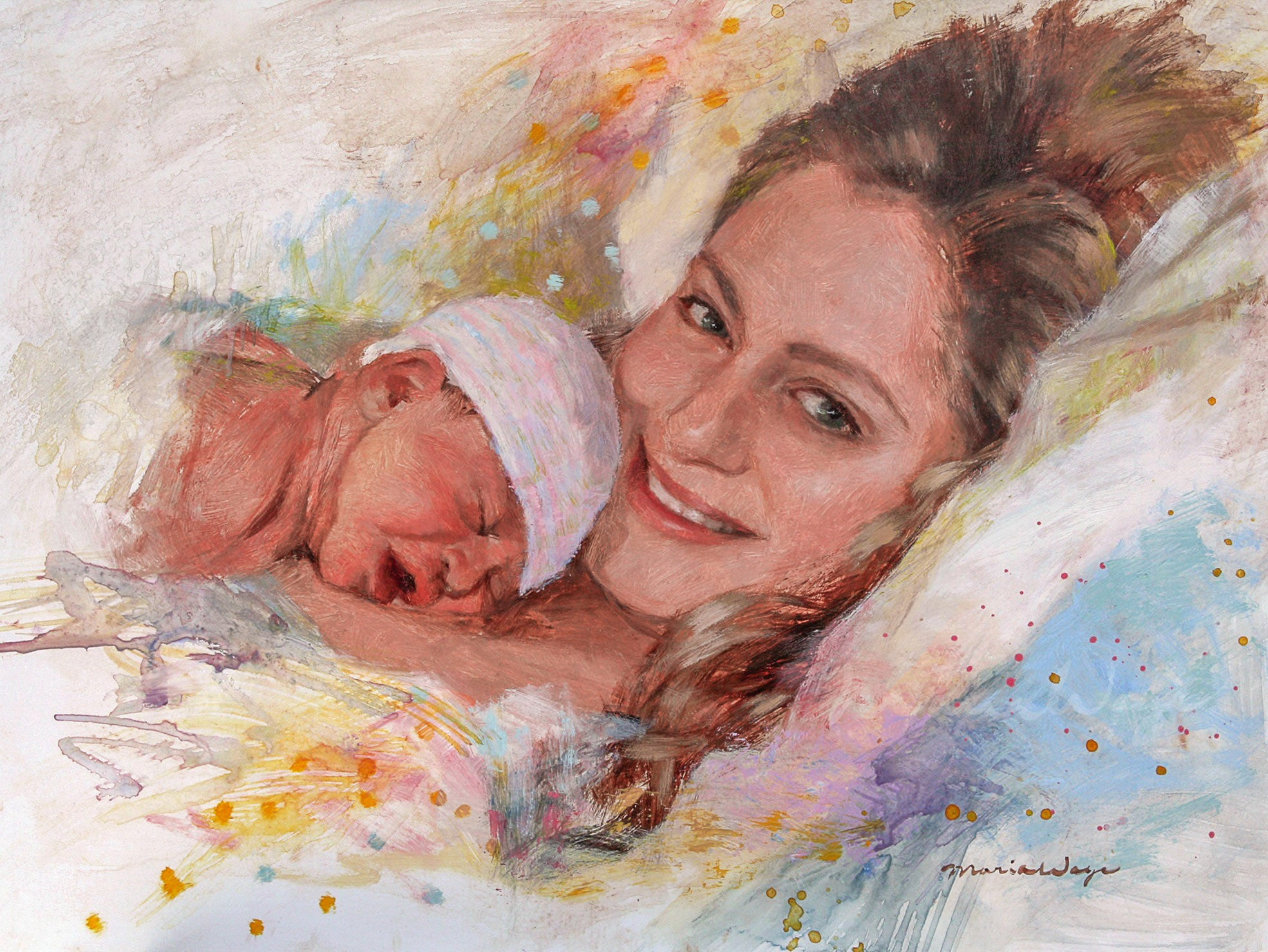 "Custom Portrait Oil Painting 12x16"" Two people or pets (30.48x40 ..."