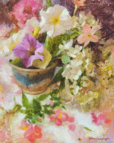 Original fine art oil painting. Floral fine art, flower painting by Maria Waye, artist in Toronto Canada. You'll delight in this gathering of the most delicate and prettiest flowers from a summer garden: petunias, nicotiana, hydrangeas and snapdragons. Romantic, pretty, impressionist painting for art and nature lovers. Inspired by summer flowers and gardens.