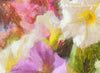 Detail of painting. You can see the paint texture and brushwork. Original fine art oil painting. Floral fine art, flower painting by Maria Waye, artist in Toronto Canada. You'll delight in this gathering of the most delicate and prettiest flowers from a summer garden: petunias, nicotiana, hydrangeas and snapdragons. Romantic, pretty, impressionist painting for art and nature lovers. Inspired by summer flowers and gardens.