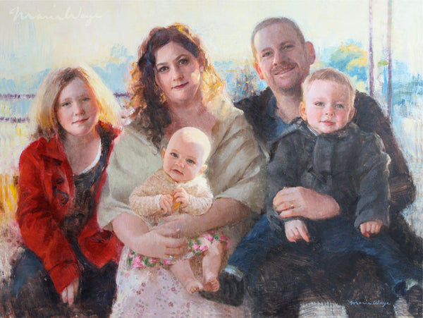 "Custom Portrait Oil Painting 18x24"" Five people or pets (45.72x60.96 cm)"