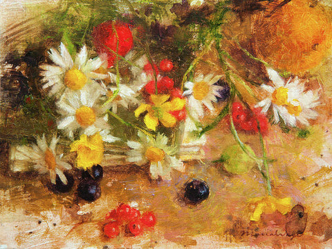 Art Print - Delightful Summer Flowers And Berries Still Life