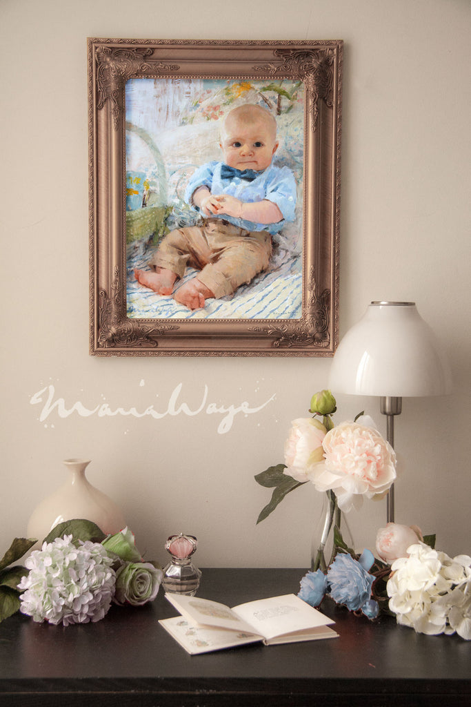 Custom oil portrait Toronto Canadian artist Maria Waye realistic baby portrait from your photos online order special occasions birthdays toddlers kids pastel colors fine art modern decor