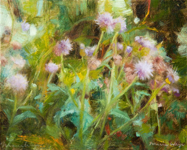 Weeds oil painting, Canada bristles. Here are the weeds I saw along the sidewalk, on my way to Whole Foods. As a result, I made this oil painting when I got home. I was inspired by their strength as they thrived in a neglected state, in the summer heat. Their wild, carefree forms made my heart sing, and I simply had to paint them!