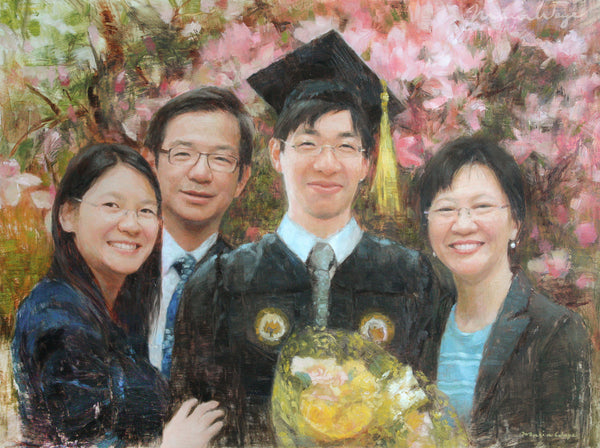 "Custom Portrait Oil Painting 18x24"" Four people or pets (45.72x60.96 cm)"