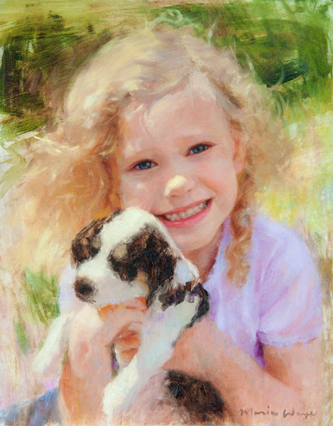 Girl with puppy, children's portrait painted from your photos by Toronto portrait painter Maria Waye