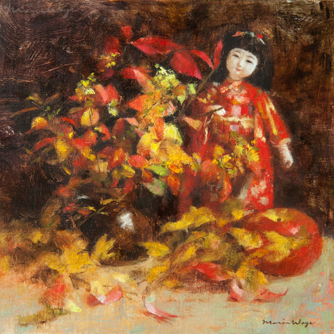 Red Still Life Oil Painting. Japanese doll arranged with autumn leaves, harvest apple and brown jug vase. Romantic rustic mood, elegant fine art for nature lovers. Maria Waye's art is full of passion and joy. She loves to paint flowers and nature. Here's a still life oil painting that's perfect for your home. Quiet contemplative quality. Rustic elegance. French country decor.