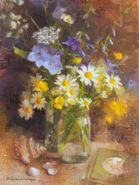 Maria Waye's art is full of passion and joy. She loves to paint flowers and nature. Here's a still life oil painting that's perfect for your home. Quiet contemplative quality. Rustic elegance. French country decor.