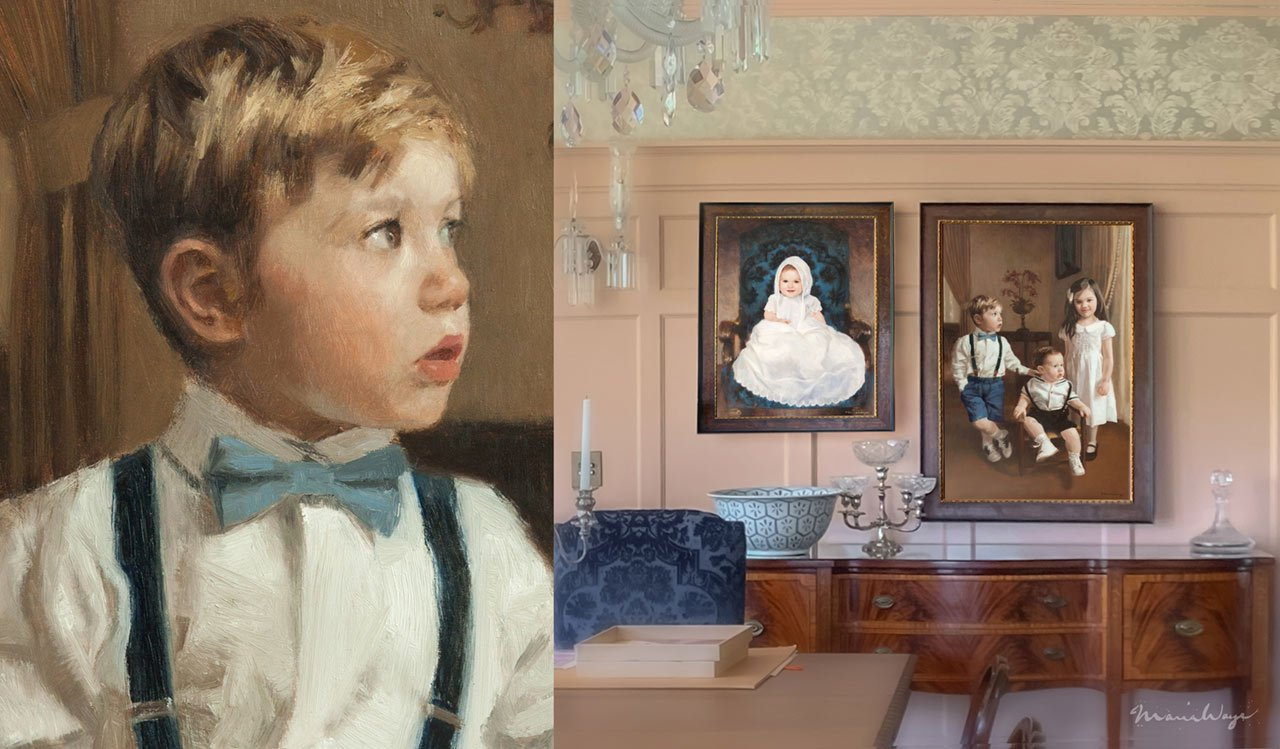 Baby boy portrait paintings commission an artist to paint my sons