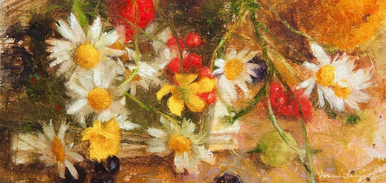 Floral oil painting art  by Maria Waye