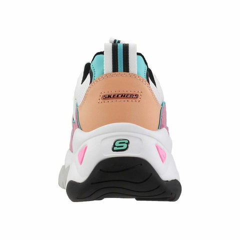 Skechers Women's D'Lites 3 - ZENWAY Memory Foam Lace-up Sneaker White Pink Black