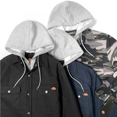 Dickies Men's Hooded Duck Quilted Shirt Jacket TJ203 Multi Color Black Navy Camo