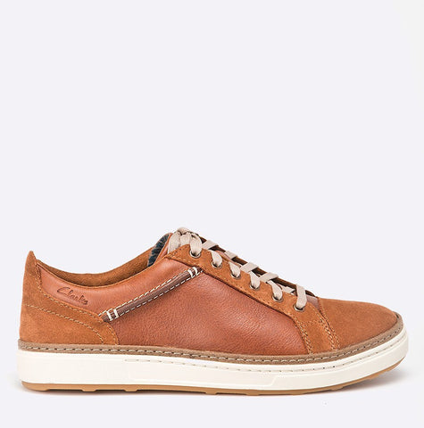 New Clarks Men's Lorsen Edge Casual Lace-Up Sneaker Tan Leather