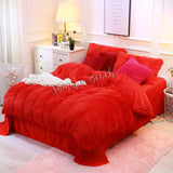 Plush Fluffy Red Bed Set - MADE TO ORDER