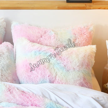 Rainbow Plush Fluffy European Pillowcases Only - 1 Pair