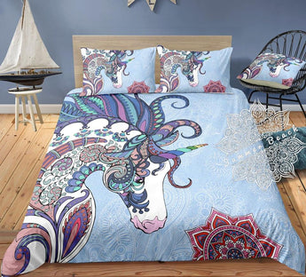 Unicorn Mandala (Blue) Bed Set - New