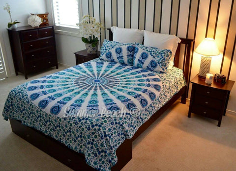 ... Blue U0026 White Peacock Bed Set   ...