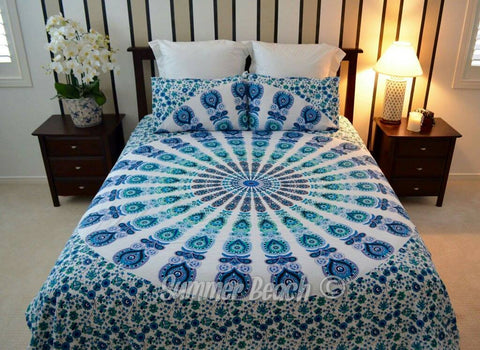 Blue White Peacock Bed Set