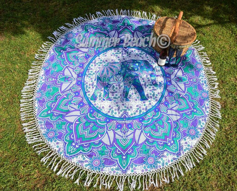 Round Mandala - Purple & Blue Elephant - M18