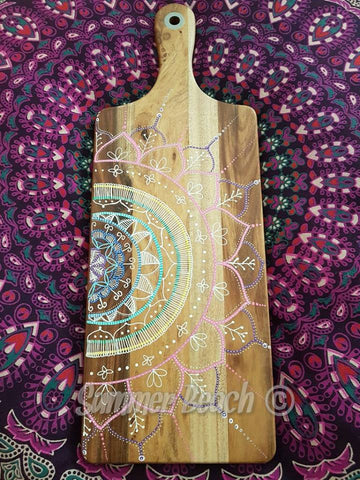 Hand Painted Wooden Mandala Serving Boards - Board2