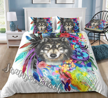 Tribal Feathers Wolf Bed  Set - New