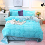 Plush Fluffy Blue Bed Set - MADE TO ORDER