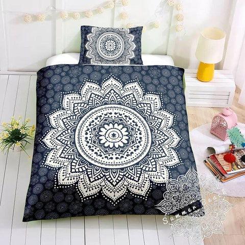 Navy & White Sun Ombre' Bed Set