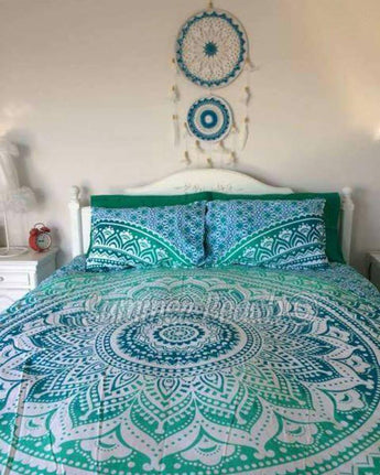 "Green Ombre"" Bed Set - Indian Cotton"