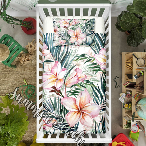 "Tropical Frangipani Cot Doona Cover Bed Set - ""Made To Order"" Will take 2 - 3 weeks to arrive - Cotton"