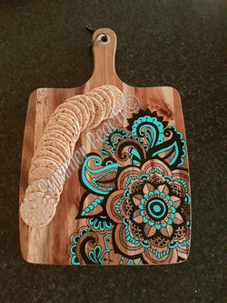 Hand Painted Wooden Mandala Serving Boards - Board36