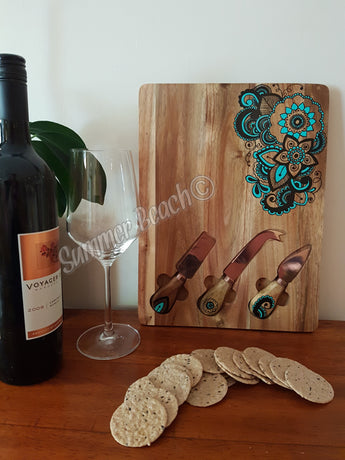 Hand Painted Wooden Mandala Serving Boards (5 colour choices)