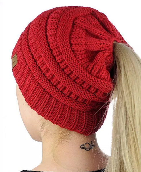 Red Ponytail / Messy Bun Beanie