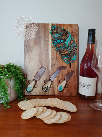 Hand Painted Wooden Feather Serving Boards (7 Colour Choices)