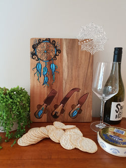 Hand Painted Wooden Dream Catcher Serving Boards (7 Colours choices)