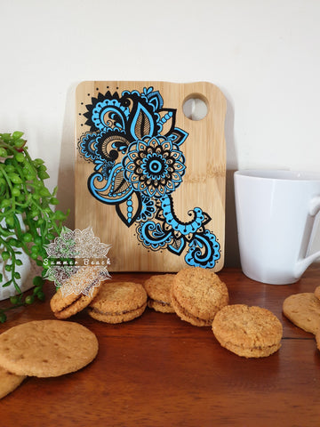 and Painted Mandala Wooden Biscuit / Sandwich Boards (6 Colour Choices)